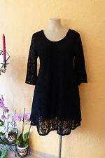 MAGNA RUNDUM SPITZEN TUNIKA Kleid 52 54 NEU schwarz A-Form Stretch LAGENLOOK
