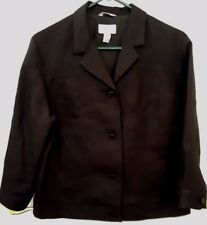 Talbots Irish Linen Black Jacket Womens Size 12 Lined 4 Button Career Casual