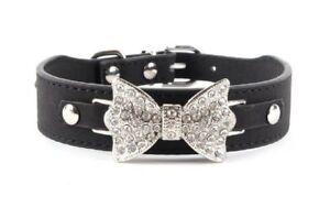 Animalerie Collier Pour Chien  En Cuir Noeud Papillon Strass Taille M 37 Cm