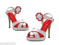 """Nurse Sandals Cross Ankle Strap 1/2"""" Platform 4.5"""" Heels Ellie 451-Florence 10M"""