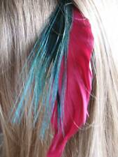 Feather Hair Extensions - Red Goose, Green Biot & Peacock Eye Feather Mix
