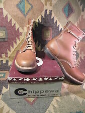 NEW IN BOX NOS Vtg 70s CHIPPEWA Leather Laced Up Boots Sz 12 E Union Made inUSA