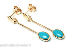 9ct Gold Turquoise long Drop Earrings Gift Boxed Made in UK