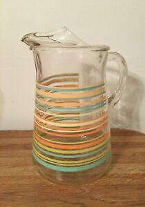 Vintage Spring Time Pastel Stripped Glass Pitcher