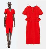 SALE! GENUINE ZARA RED PENCIL DRESS WITH BELT BLOGGERS MIDI SIZE MEDIUM M NEW