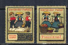 2x Vignette Reklamemarke Vierländer Paket Bahlsen Keksfabrik Hannover
