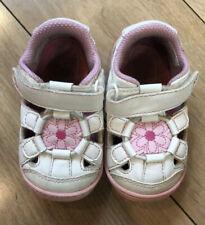 "Sz 4 Toddler STRIDE RITE SURPRIZE ""Alexia"" Girls White & Pink Flower Sandals EUC"