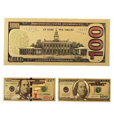 2Pcs/Set 100 Dollar USA Gold Foil Plastic Banknote Money Commemorative Gift