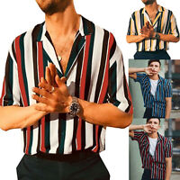 Men Short Sleeve Striped Shirts Casual Holiday Summer Button Blouse T-Shirt Top