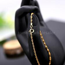Genuine 18K Gold Plated Twisted Chain Fine Bracelet Gift for Lady Girl Women