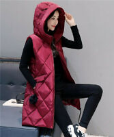 Winter Ladies Sleeveless Down Cotton Vest Hooded Long Jacket Gilet Warm Outwear