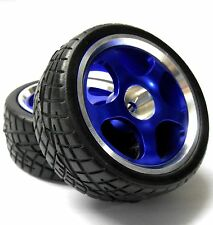 811703B 1/10 Scale RC Car On Road Touring Wheel and Tyre Alloy Blue 5 Spoke x 2