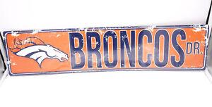 Denver Broncos DR Licensed NFL Distressed Street Aluminum Wall Man Cave Sign