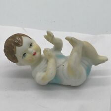 VINTAGE / ANTIQUE BISQUE POTTERY BABY BIRTH CAKE TOPPER CHRISTENING HAND PAINTED