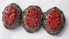 small enamel leaves China on reverse Cinnabar brooch with filigree silver with