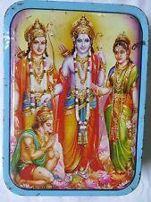 VintageSweet TIN BOX HINDU Ideal GOD RAM LAXMAN SITA HANUMAN Worship Image India