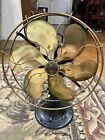 "Antique Emerson 12"" Brass Blade 6 Six Wing Oscillating Desk Fan"