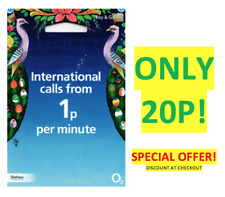 O2 02 SIM Card International PayG SEALED Triple Cut NEW *ONLY 20P* AT CHECKOUT!