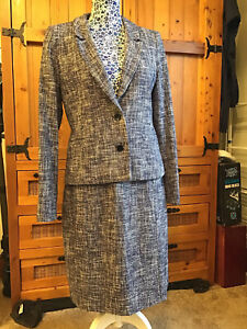 Brora Blue Tweed Skirt Suit Size 12. Immaculate.