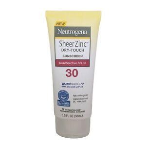 Neutrogena Sheer Zinc Dry-Touch Broad Spectrum SPF 30 Mineral Sunscreen, 3 Fl Oz