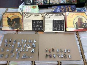 Huge Lot of 46 Call of Cthulhu Creatures/Adventures Miniatures + 2 Boxes/Sheets