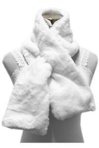 Damen Stola Pelzoptik Kragen Kunstfell Schal Halstuch Flauschig weich Weiß