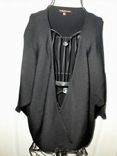 "Women's""ADRIENNE VITTADINI""Black Batwing Sleeves Rayon/Nylon Sweater Wrap size L"