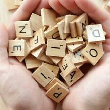 100pcs Wooden Scrabble Tiles Black Letters for Crafts Children's Game Alphabets