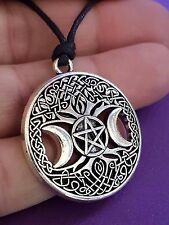 "Pentacle,Triple Moon TREE OF LIFE Witch Pagan Pendant Necklace 18""+ Cord      c3"