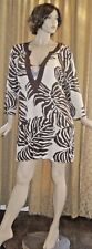 CZ Cover-Ups Size Medium Brown on Ivory Tropical Print Swimsuit Cover-up/Tunic