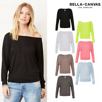 Bella + Canvas Flowy Off The Shoulder Long Sleeve T-Shirt 8850-Womens Casual Top