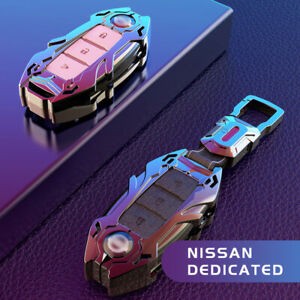 Metal Car Remote Key Case Cover Shell Key Chain 3&4 button Keyring For Nissan