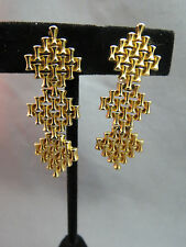"VTG Monet Comfort Clip Earrings Luxury Gold Plated Long Weave Dangle 1.75"" Cute!"