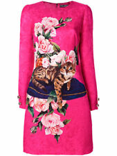 Dolce & Gabbana Dark Pink Zambia Cat Dress Size:46 Org 2,395.00
