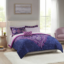 Mainstays Grace Medallion Purple Bed in a Bag Complete Bedding, Twin/Twin Xl