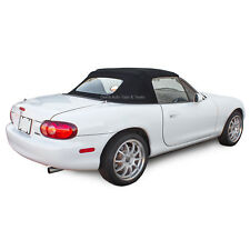 Miata Convertible Top with Non-Zippered Glass Window in Black Stayfast Cloth
