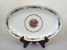 """Jlmenau Germany Von Henneberg Porcelain Hand Painted Rose Dish 9"""""""