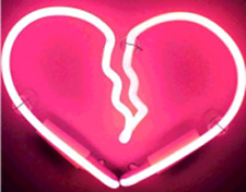 "New Broken Heart Pink Bar Pub Wall Decor Acrylic Neon Light Sign 14"""