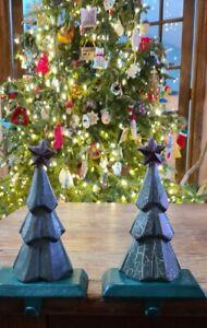 Set of 2 Vintage Christmas Tree Stocking Holder Hanger Folk Art Cast Iron Base