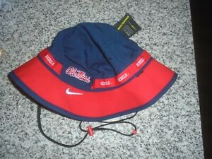 ADULT XL OLE MISS RED/BLUE NIKE/NCAA BUCKET/RAIN HAT - NWT