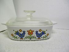 Vtg CorningWare 1 Qt A-1-B Country Festival Friendship Blue Birds Casserole VGC