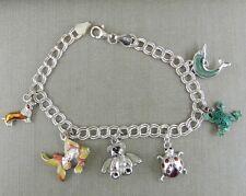 SU Italy Sterling Silver Enamel Animal Charm Bracelet