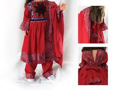 Kid's Red Afghan Kuchi Tribal Dress with Beautiful Embroidery Colours Handmade