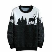 Men Sweaters Long Sleeve Slim Fit Knitted Pullover Warm Deer Tree Crew Neck Tops