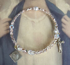 New Rosary Crystal Vintage Catholic France Our Lady Medal Memory Wire bracelet