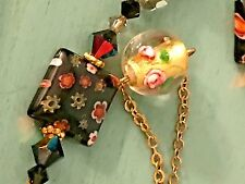 Vintage Floral Foiled Millefiori Lampwork Art Glass Bead Necklace Signed DOL