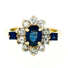 14k Gold 2.45ctw GIA Oval Sapphire Solitaire Square & Round Diamond Cluster Ring