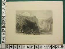 1836 DATED ANTIQUE PRINT ~ THE VALLEY OF LAUTERBRUNN WENGERN ALPS