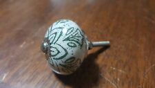 Hand-made Hand-painted Ceramic Drawer Knob - Cream with green flowers - S63
