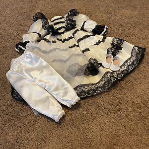 "VTG Dress Dress Clothes Set White Satin Nylon Black Lace Trim 22"" Doll Shoes"